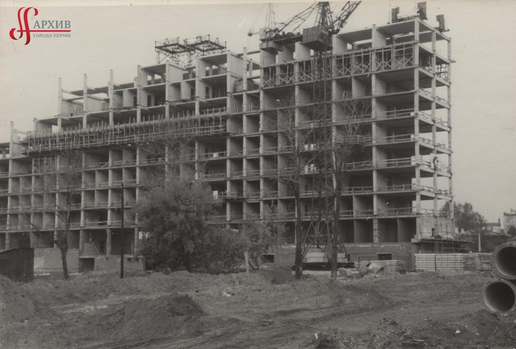 Строительство здания Дома Советов по ул. Ленина, 51. Сентябрь 1969.